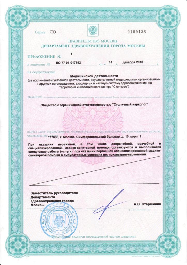 лицензия клиники Столичный Нарколог